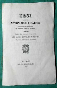 Tesi Anton Maria Fabris laura Filosofia Padova 1840 seminario università