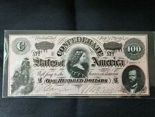 1864 $100 Us Confederate States of America! Currency! Old Us Paper Money (Gem)