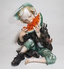 Vintage Peasant Boy Eating a WaterMelon figurine Capodimonte Style