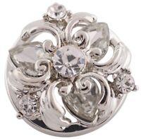 Silver White Rhinestone Flower 20mm Snap Charm For Ginger Snaps Magnolia Vine