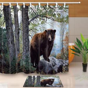 "71"" Brown bear Waterproof Shower Curtain with hooks Bathroom mat set home decor"