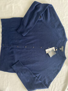 Nwt Charter Club Cashmere Luxury Button Down Cardigan Sweater Navy Blue Large