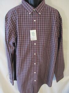 Croft & Barrow Cotton Blnd Big Burgundy  Plaid Long Slve Button Shirt SR$50 NEW