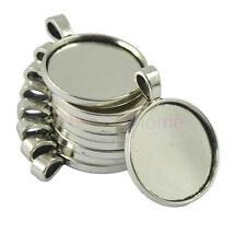 Round Bezel Tray Base 25mm Cabochon Necklace Pendant Tibetan Silver 10 Pcs