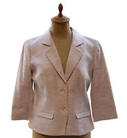 Pendleton Womens Linen Blend 3/4 Sleeve Pink Tweed Career Blazer Jacket Size 6