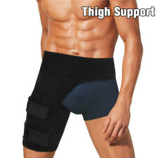 Thigh Support Compression Brace Wrap Black Sprains Therapy Leg Pain Hip