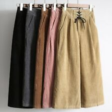 Vintage Women Corduroy Pants High Waist Loose Wide Leg Flared Cropped Culottes
