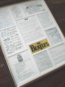 THE BEATLES ORIGINAL HANDWRITTEN LYRICS FRAMED DISPLAY MONTAGE VERSION # 4