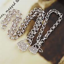 18K White Gold Filled Belcher Padlock Necklace/Bracelet Set (S-129)