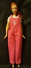 1985 Barbie Doll Blue Eyes Red Hair with Freckles in Pink Corduroy Overall VTG