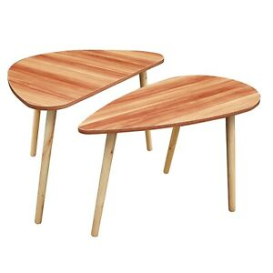 Set of 2 Drop Shape Table, Triangle Table, Oval Table, Contemporary Style Leisur