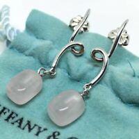 Tiffany & Co. Rose Quartz Drop/Dangle Earrings Sterling Silver 925