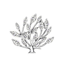 14k White Gold plated Tree Leaf with CZ Zircon Crystals brooch pin