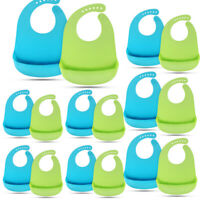 Lot16 Waterproof Soft Baby Bib 100% food-graded Silicone Feeding Bibs Adjustable