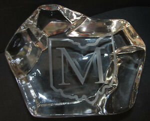 """Mosser Glass Company Dealer Sign with Etched Ohio """"M"""" Logo Paperweight"""