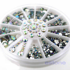 5 Sizes Shiny White Acrylic Nail Art Tips Decoration Glitter Rhinestones Wheel