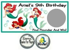 10 Little Mermaid Ariel Birthday Party Baby Shower Scratch Off Game Card Tickets