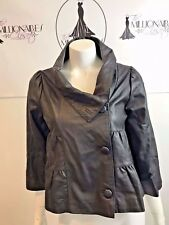 MADISON MARCUS 81917 BLACK CROP SMOOTH LEATHER A LINE SWING JACKET SZ L