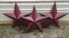 "(Set of 6 ) BURGUNDY BLACK BARN STARS 8"" PRIMITIVE COUNTRY DECOR FREE SHIPPING!"