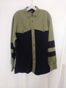 Rustler By Wrangler Mens XLT Button Down Black and Army Green Western Shirt