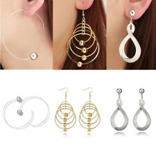 925 Sterling Silver Fashion Earring Geometrical Dangle Multilayer Round Ear Stud