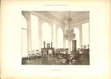 Salons des Glaces Lustre Cheminée Table Château de Versailles GRAVURE PRINT 1899