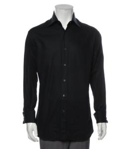 GUCCI Men Black Slim Cotton Button Front Dress Shirt sz  16.5 42 Free Ship