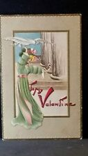 Vintage Post Card To My Valentine Blonde Hair Long Green Dress & Hat Pink Bows