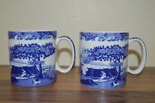 Spode Blue Italian Pair of 0.25 Litre Coffee Mug / Mugs - New & Unused