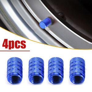 4Pcs Car Blue Wheel Tire Valve Stems Air Dust Cover Screw Caps Trim Accessories
