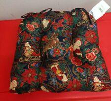 "Christmas Chair Cusion Set of 2 poinsettia "" Vintage Santa "" Holiday New"
