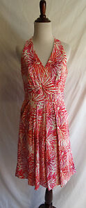 Muse 8 Pink Orange Retro Sketch Flower Fit & Flare Summer Party Tea Dress