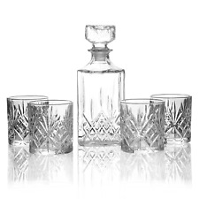 More details for set of 4 tumbler set & whiskey decanter glass tumblers decanter set m&w