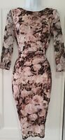 Womens Phase Eight Blush Pink Lace Floral Ruched Drape Occasion Bodycon Dress 10