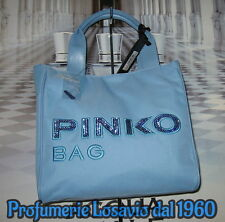 "Borsa PINKO BAG "" Idrostatica "" (Celeste) Nylon ed Ecopelle"