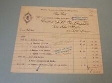 1906 W.A. McLaughlin Shirt Maker Billhead New York 304 Fifth Avenue Haberdasher