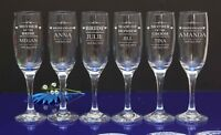 Personalised Engraved Flutes Glass Wedding Favour Gift Bridesmaid