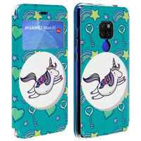 Huawei Mate 20 Unicorn Case, Window, Card Holder, Stand - Blue