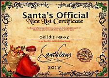 "Personnalisé Noël Santa 'Nice LIST ""Certificat A4 260GSM Photo Brillant"
