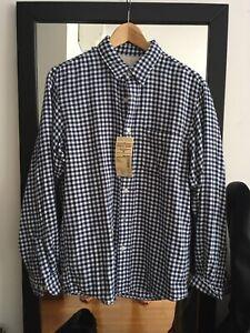 Muji Indian Cotton Double Gauze Check Shirt Blue M Medium Navy