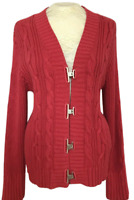 Chicos Chunky Cable Knit Cardigan Sweater Red Size 3 V-neck Metal Toggle Clasps