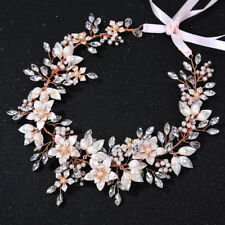 Gold and Pink Flower, Pearl and Jewel Detailed Hair Band With White Ribbon