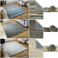 LARGE MODERN THICK PURE WOOL TEXTURED QUALITY SOFT SALE GREY MULTI LOW COST RUGS