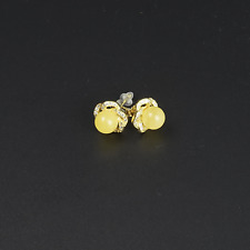 Handmade Natural Baltic Amber Bead Stud Earrings Gold Plated 925 Sterling Silver
