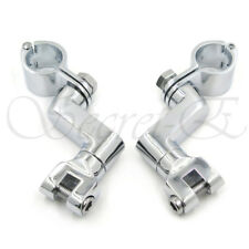 "Chrome 1"" Offset Bowleg Foot Peg Mounts Clamp For Harley Engine guards Longhorn"