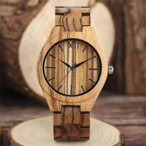Handmade Nature Wood Men Women Quartz Wrist Watch Fold Clasp Bracelet Gift