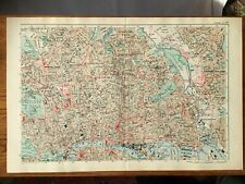 BACON LARGE CITY MAP OF LONDON NE C1907 - ORIGINAL