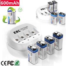 EBL 600mAh 9V 6F22 Li-Ion Rechargeable Batteries/ 4 Slots 9-Volt Battery Charger