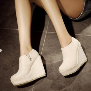 HOT SALE Women Platform Wedge High Heel PU Leather Side Zipped Ankle Boots Shoes