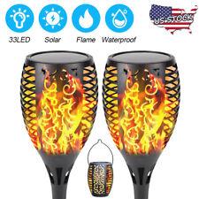 2 Pack Outdoor Solar 33 LED Torch Light Flickering Flame Garden Waterproof Lamp